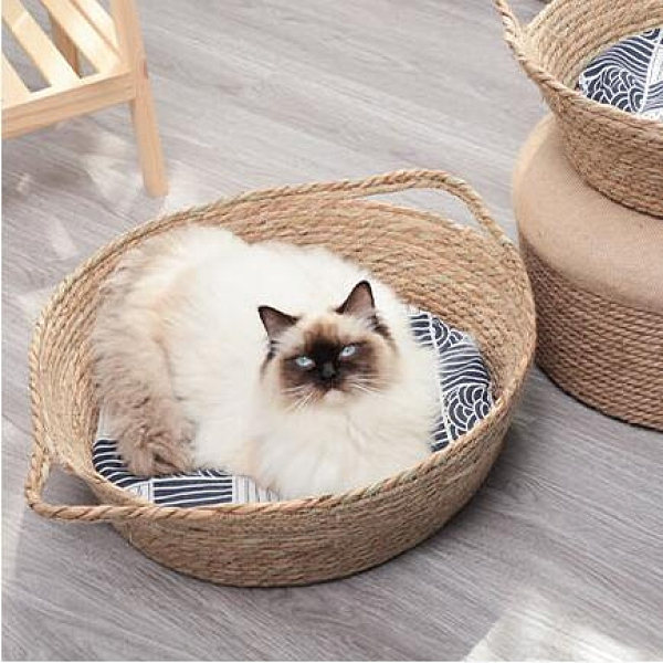 貓窩藤編夏季編織涼窩四季通用網紅不沾毛夏天狗窩貓咪床寵物用品