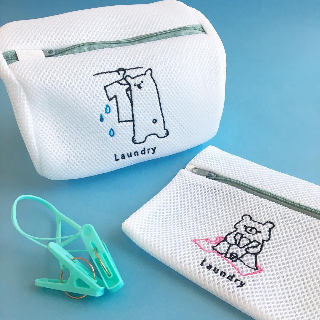 熊熊刺繡洗衣袋寬型