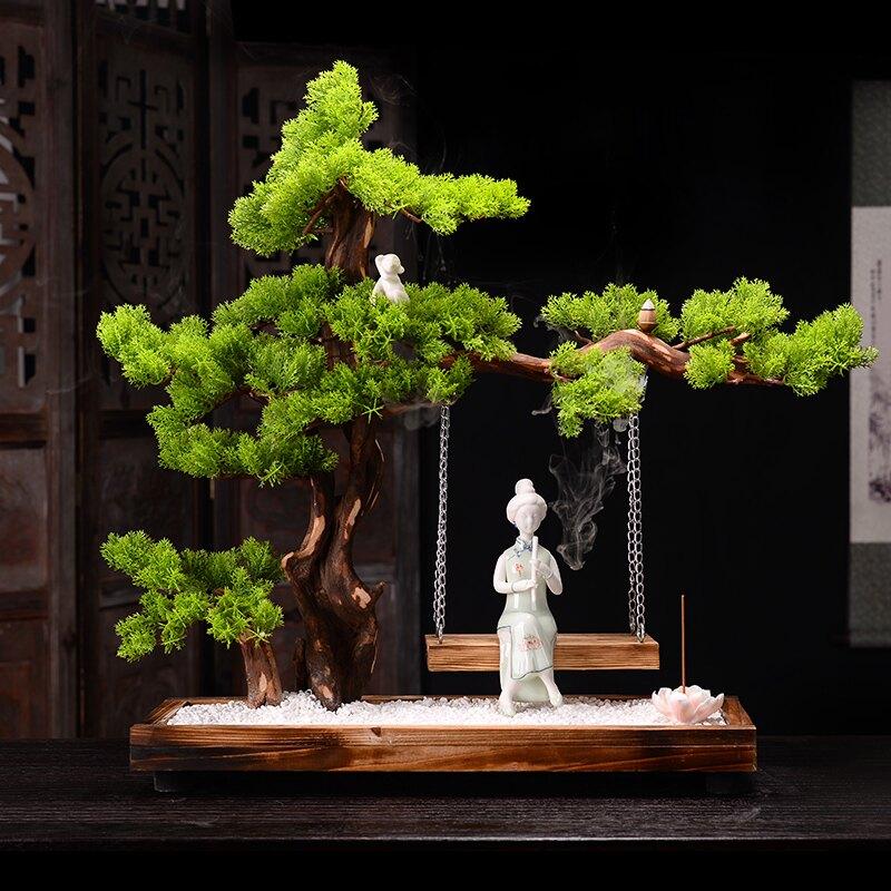 中式蕩秋千風化枯木山水沙石禪意陶瓷擺件辦公室客廳玄關軟裝設計