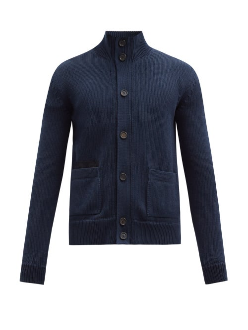 Brioni - Suede-patch Cotton Cardigan - Mens - Dark Blue