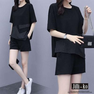 JILLI-KO 兩件套不規則拼接休閒套裝- 黑色