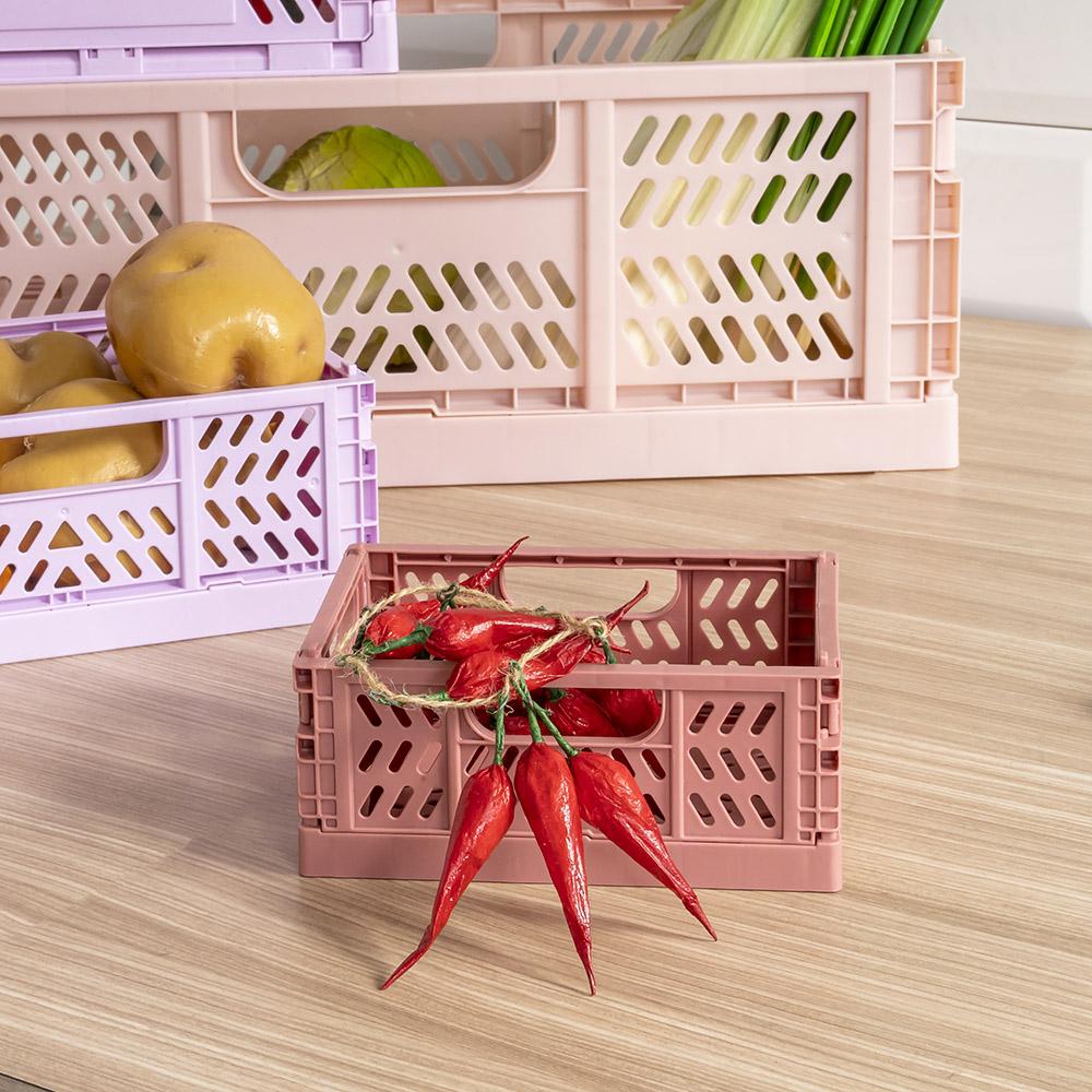 *塑膠折疊收納籃-磚紅(XS)