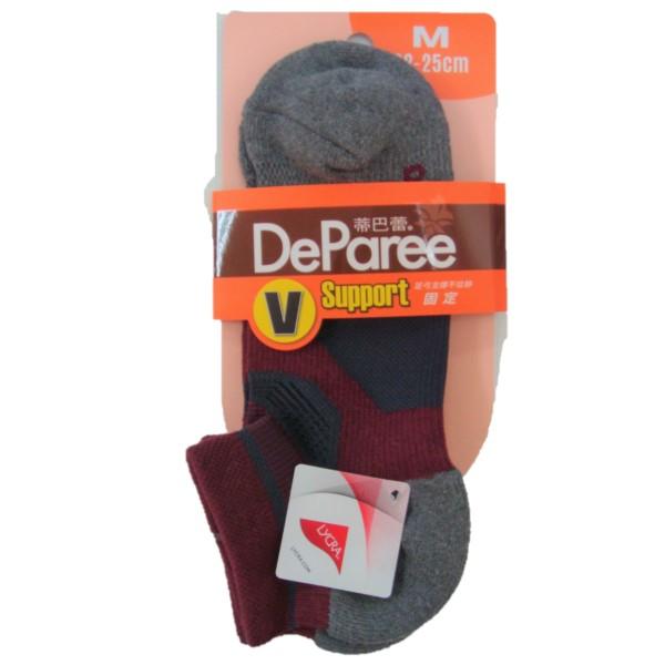 蒂巴蕾V足弓支撐運動船襪M-DP7915酒紅