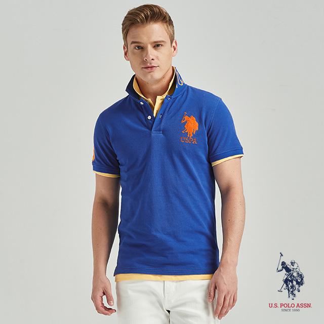 U.S. POLO ASSN. 大馬短袖POLO衫-寶藍色