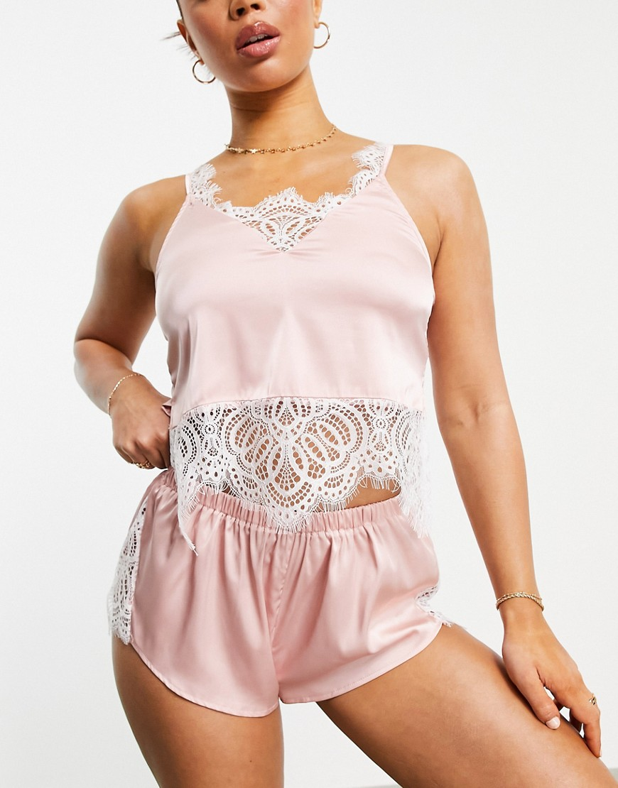 Love & Other Things satin scami and short pyjama set with eyelash lace trim in pale pink