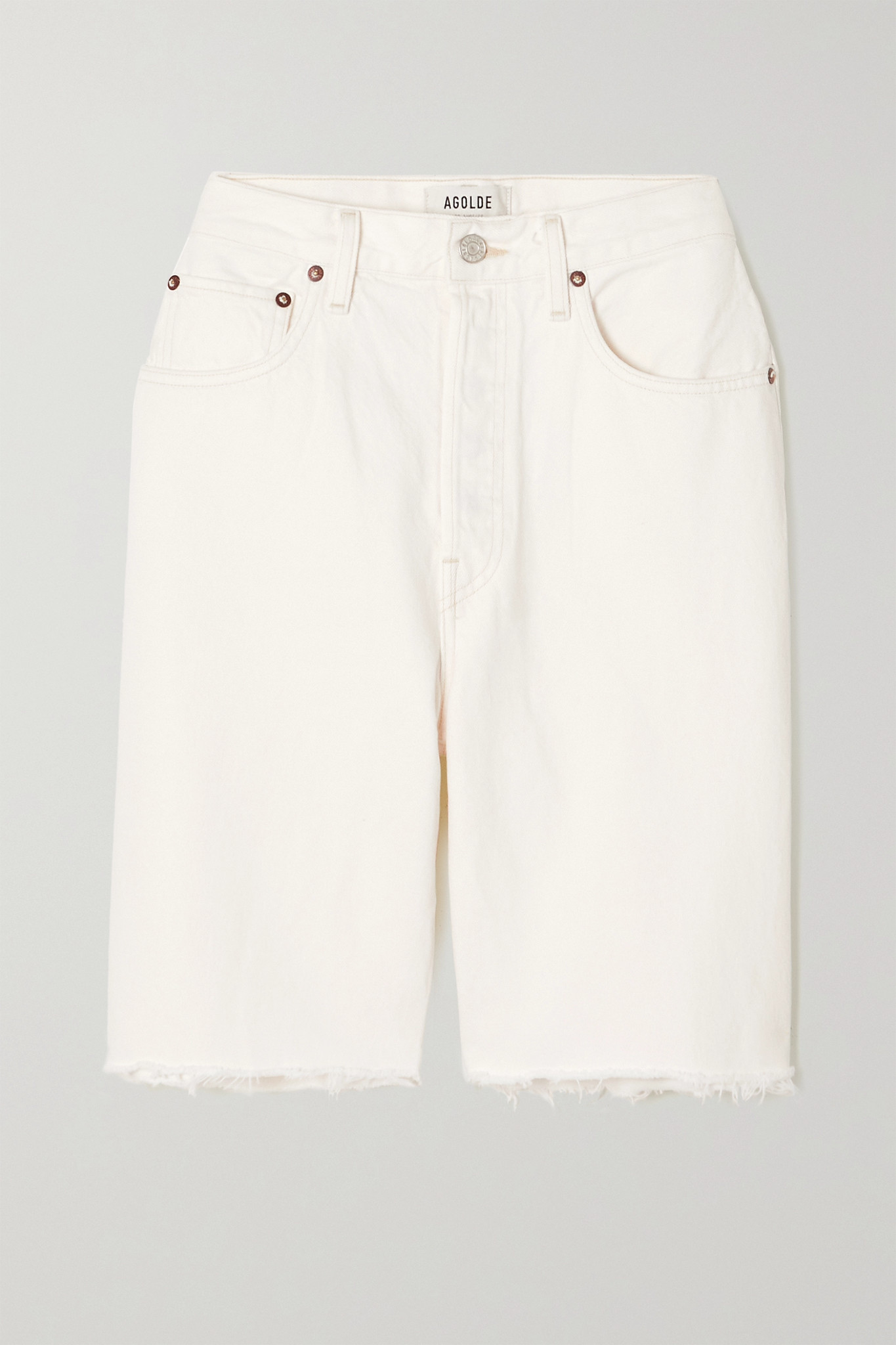 AGOLDE - '90s Pinch Distressed Denim Shorts - White - 31