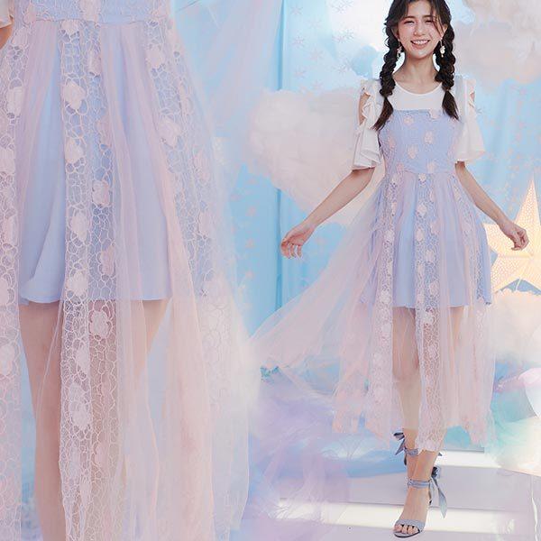 甜美撞色吊帶刺繡網紗層次無袖長洋裝