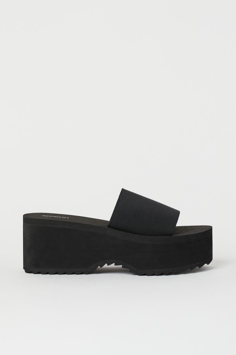 H & M - 厚底戲水鞋 - 黑色