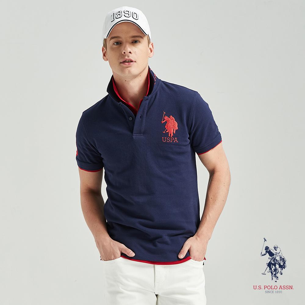 U.S. POLO ASSN. 大馬短袖POLO衫-藏藍色