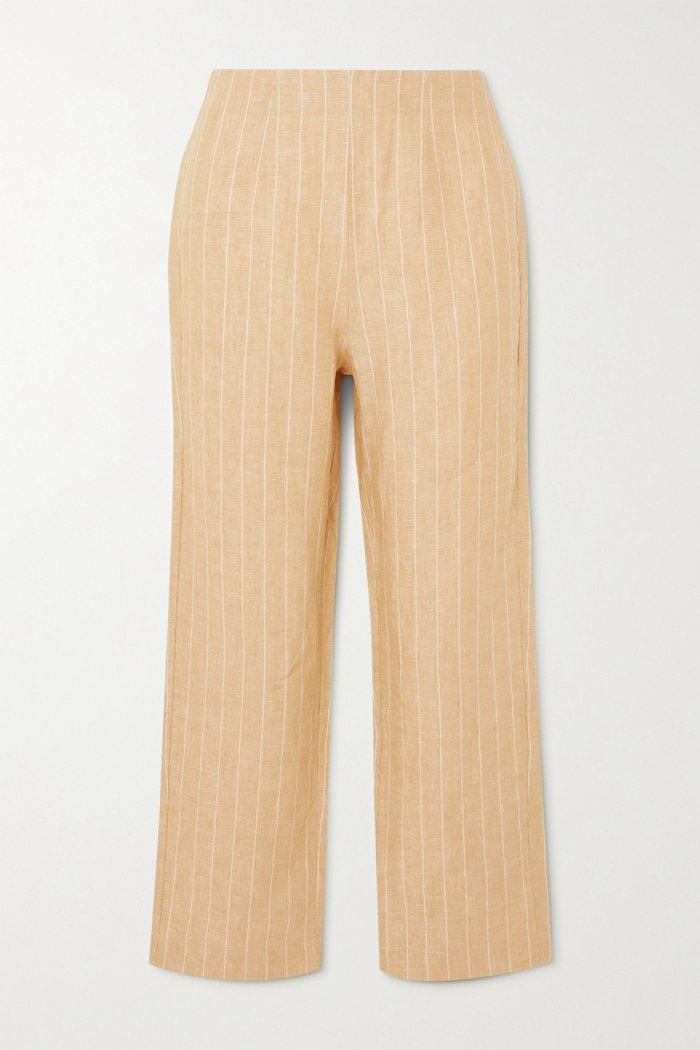REFORMATION - Justin Cropped Pinstriped Linen Wide-leg Pants - Yellow - US6