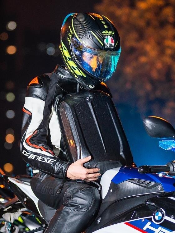 潮牌雙肩包男頭盔包摩托車硬殼背包男騎士機車包學生電腦書包運動