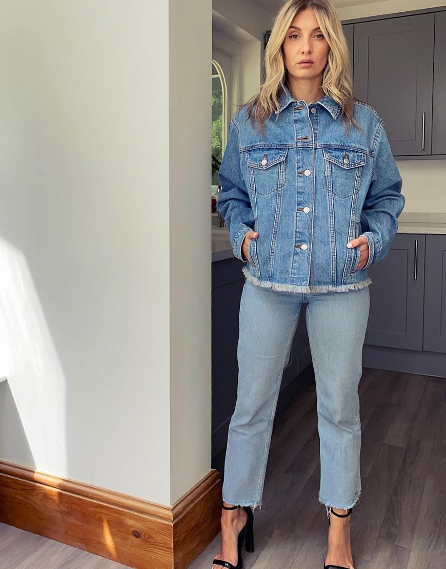 Topshop raw edge denim jacket in mid-wash blue