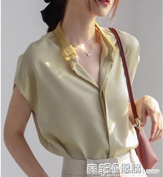 短袖雪紡襯衫女夏新款2021年上衣設計感小眾無袖襯衣緞面時尚氣質 蘇菲小店
