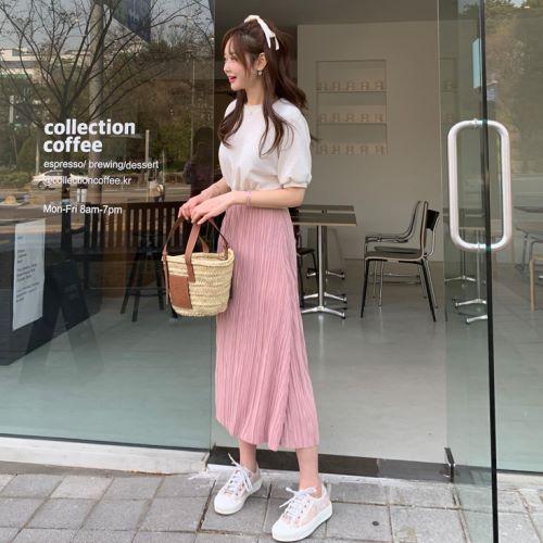 【限量現貨供應】韓國製.簡約假兩件縮腰百褶短袖洋裝.白鳥麗子