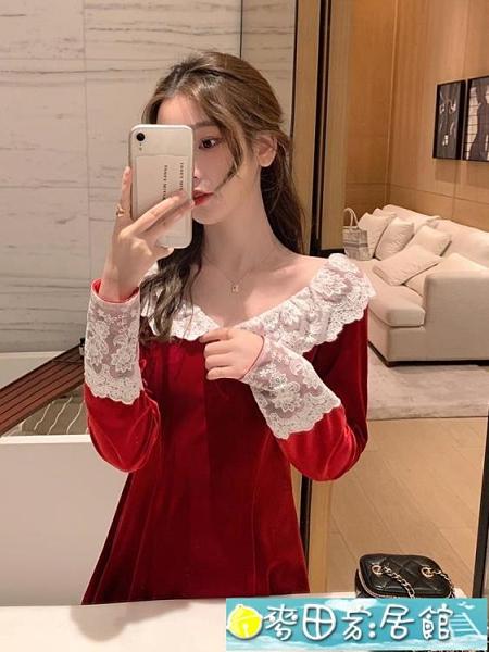 禮服 法式復古紅色絲絨連身裙秋冬氣質名媛禮服赫本風仙女系甜美小個子 快速出貨