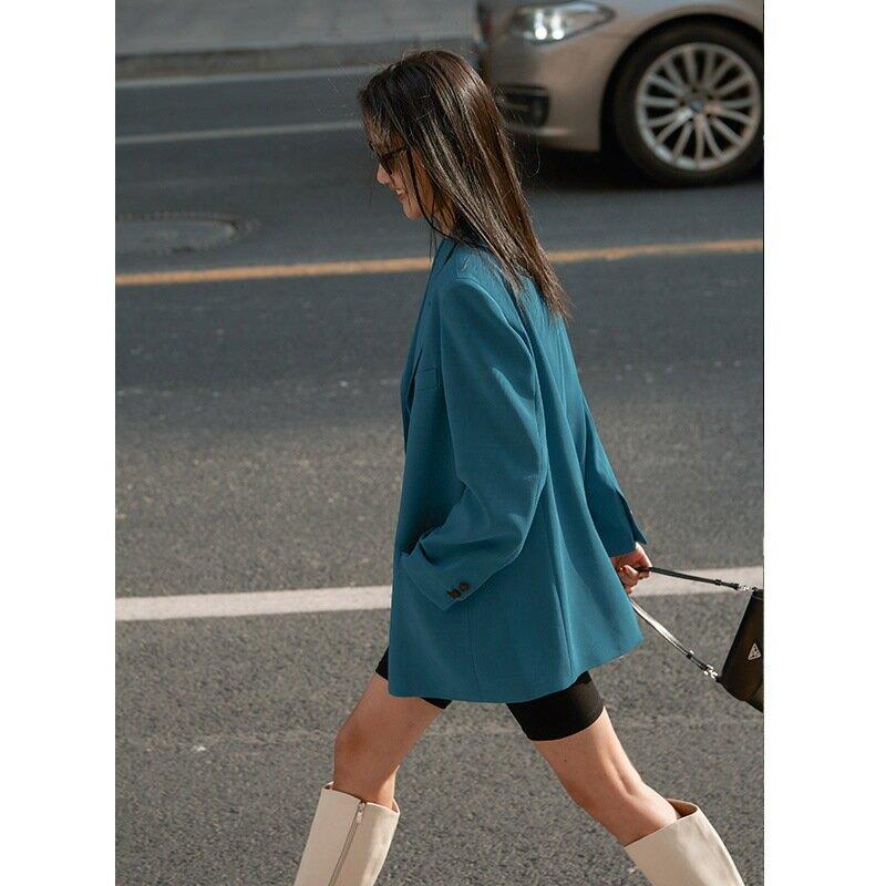 2021春季新款韓版網紅寬鬆上衣直筒氣質通勤西裝外套女