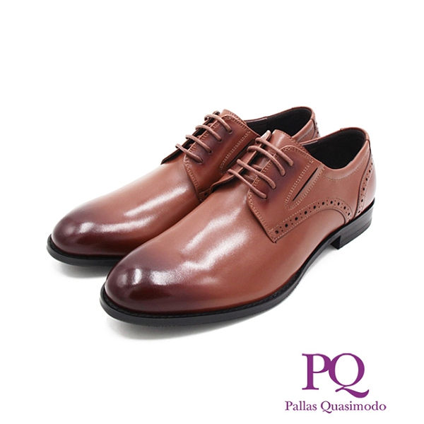 PQ(男)素面綁帶翼紋德比鞋 男鞋-棕