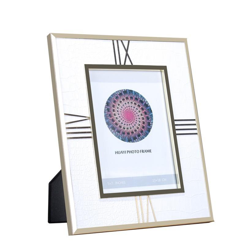 家居樣板間裝飾品擺設 婚紗照桌面擺臺金屬皮紋相框擺件7寸6寸/可開超取