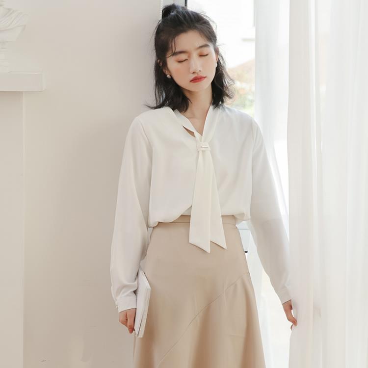 V領襯衫 法式超火的白色雪紡領帶襯衫女設計感 寬鬆正韓百搭飄帶襯衣潮【免運】