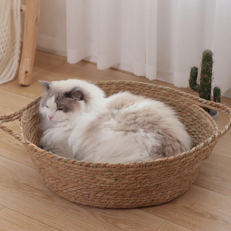狗窩 貓窩藤編夏季編織涼窩四季通用網紅不沾毛夏天狗窩貓咪床寵物用品