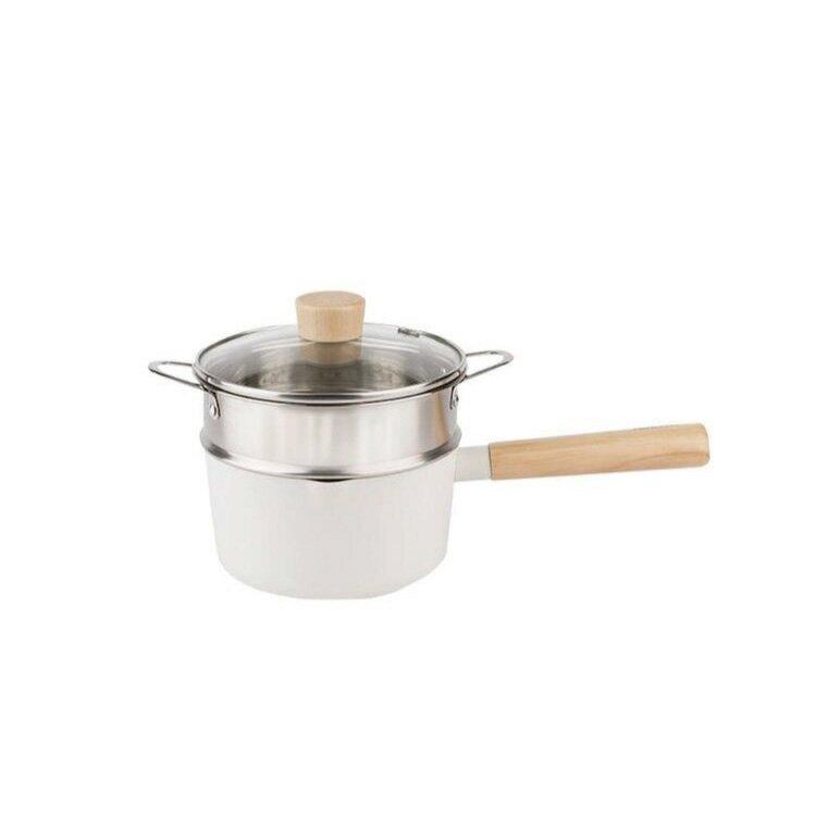 NEOFLAM FIKA系列 鑄造不沾單柄湯鍋16CM+不銹鋼蒸籠【比漾廣場】