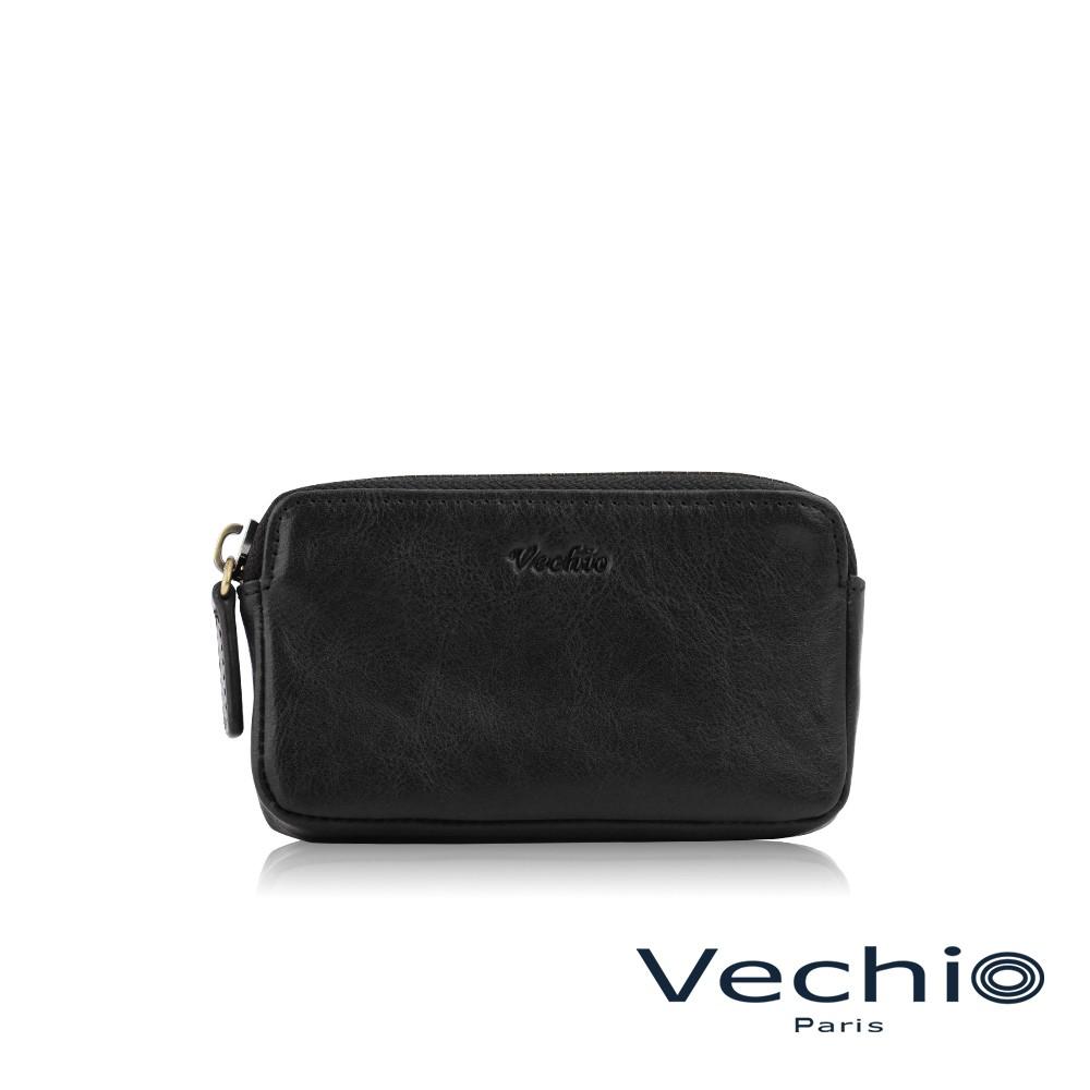 【VECHIO】禮特系列厚型拉鍊零錢包-黑色/VE044W040BK