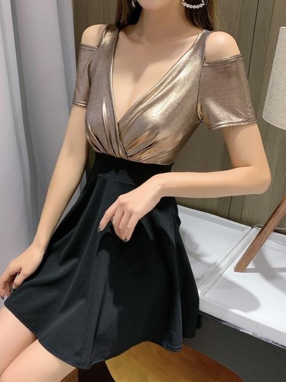 性感洋裝 有女人味的夜店新款連身裙秋季女裝酒吧低胸V領修身顯瘦短裙 【618特惠】