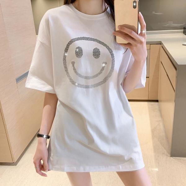 小中大尺碼短t~短袖T恤女寬松中長款燙鉆純棉白色上衣 3702N502莎菲娜