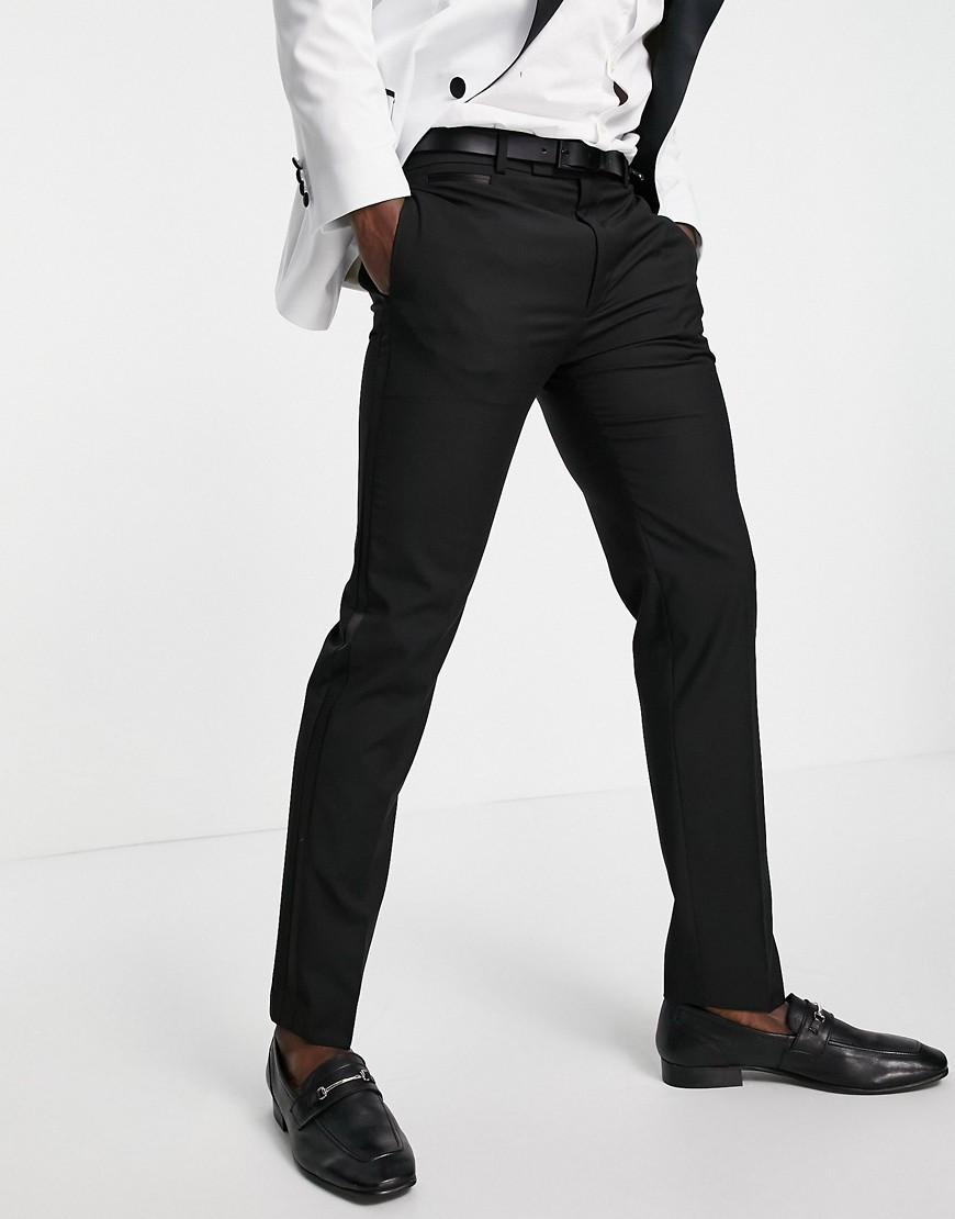 ASOS DESIGN slim tuxedo in black suit trousers
