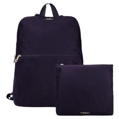 TUMI VOYAGEUR TOTE系列尼龍輕便摺疊收納後背包(黑莓紫)