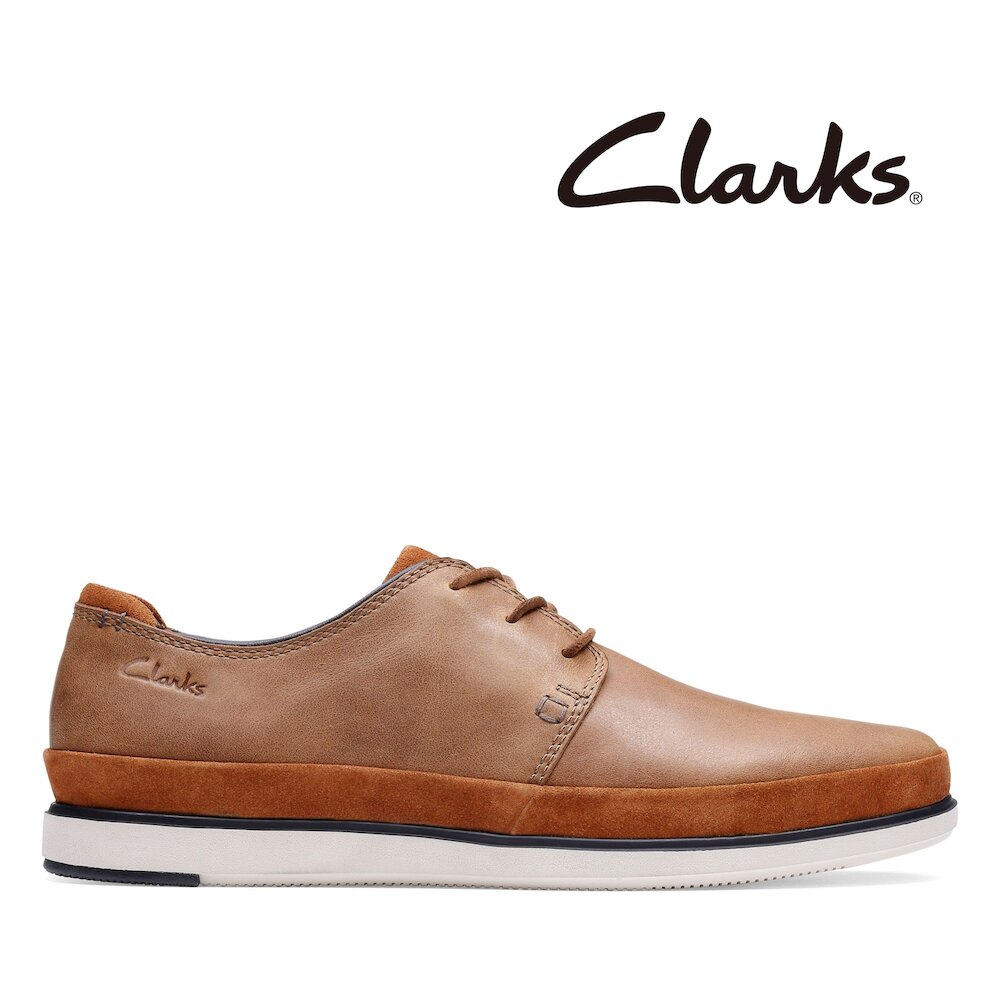 Clarks 樂活休閒-Bratton Lace異材質拼接綁帶休閒鞋(深棕褐色)