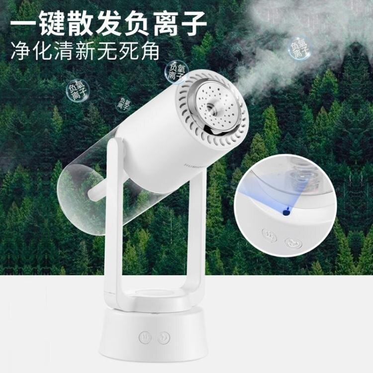 桌面負離子加濕器小型空氣凈化器家用夜燈自動搖頭USB充電香薰機 快速出貨