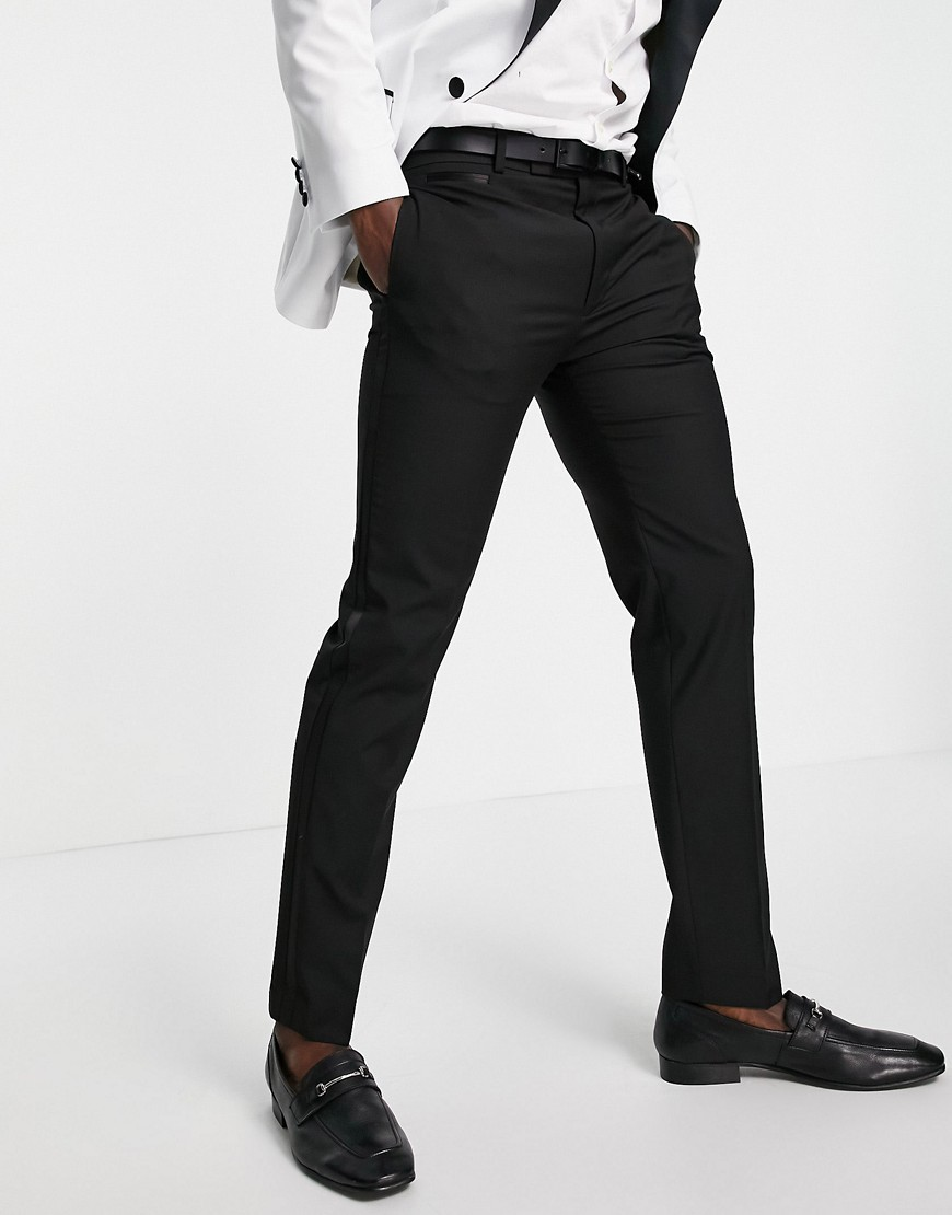 ASOS DESIGN slim tuxedo in black suit trousers
