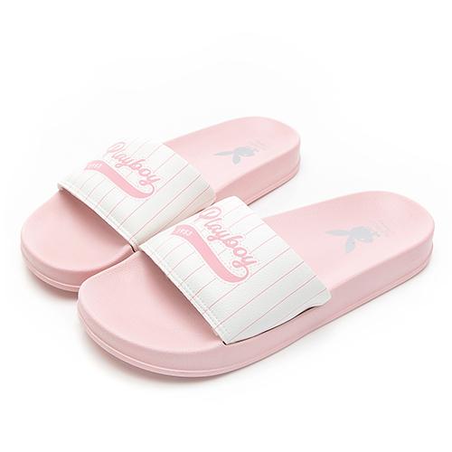 PLAYBOY 美式熱情 寬帶條紋休閒拖鞋-粉(YT617)