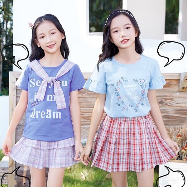 大童 氣質粉紫格紋披肩短T 春夏童裝 女童棉T 女童上衣 女童短袖 女童T恤
