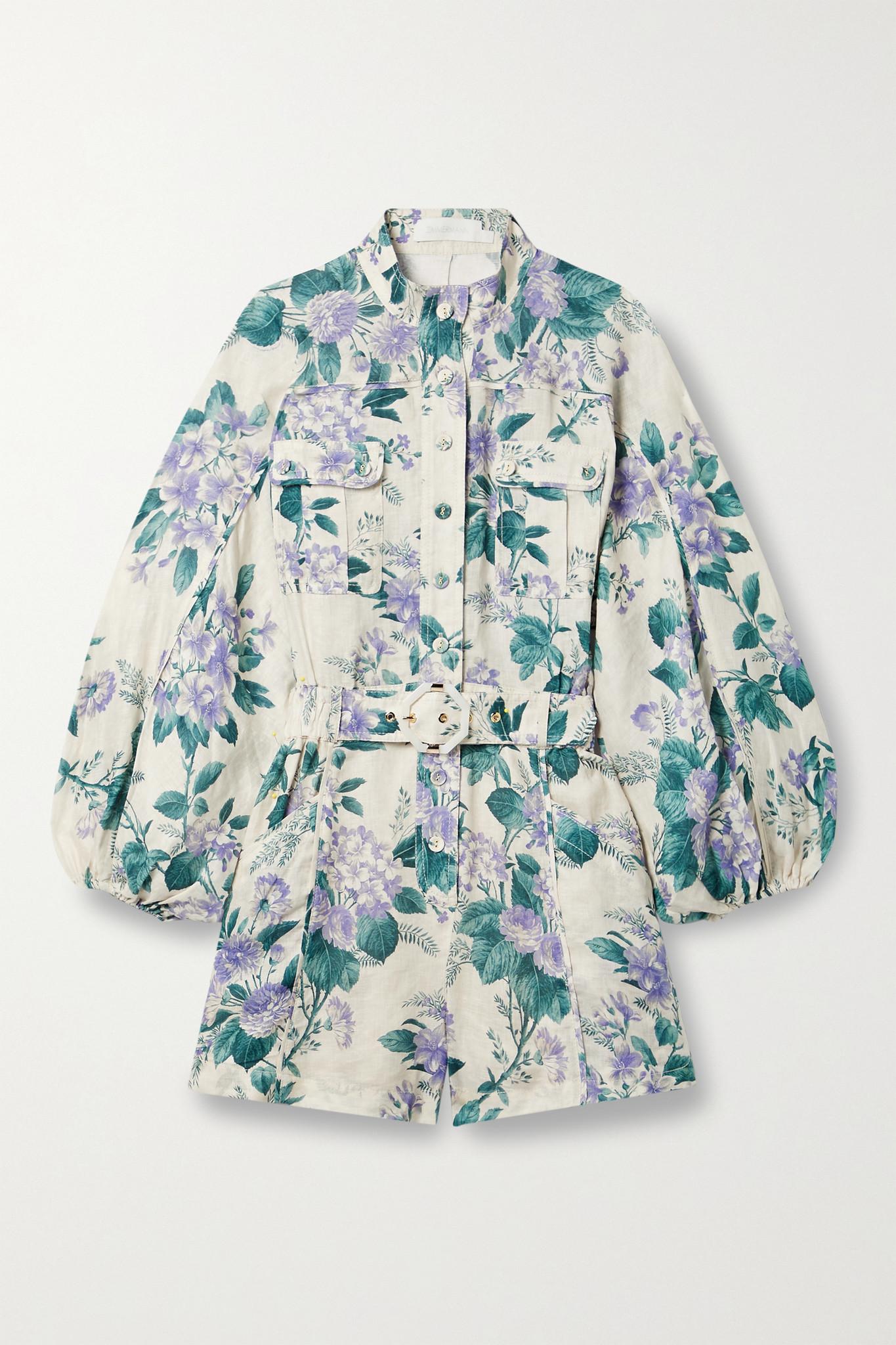 ZIMMERMANN - Cassia Belted Floral-print Linen Playsuit - Blue - 3