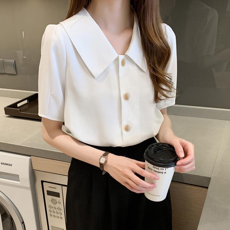 V領襯衫 法式復古襯衫女V領單排扣上衣夏季氣質職業白色雪紡襯衣【免運】
