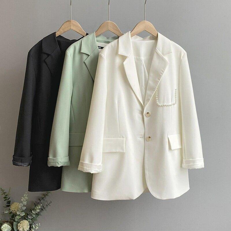 2021春純色西裝外套女珍珠寬鬆港風法式韓版休閒西服上衣