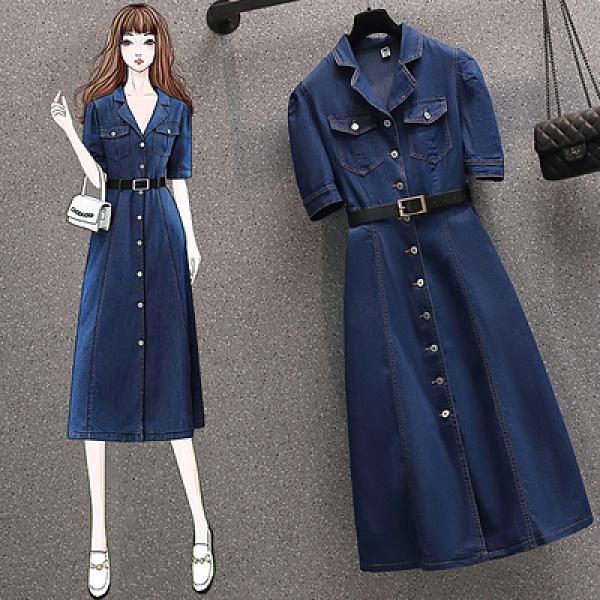 L-4XL胖妹妹大碼洋裝連身裙~大碼女裝時尚收腰洋氣牛仔連身裙洋氣裙3F088莎菲娜