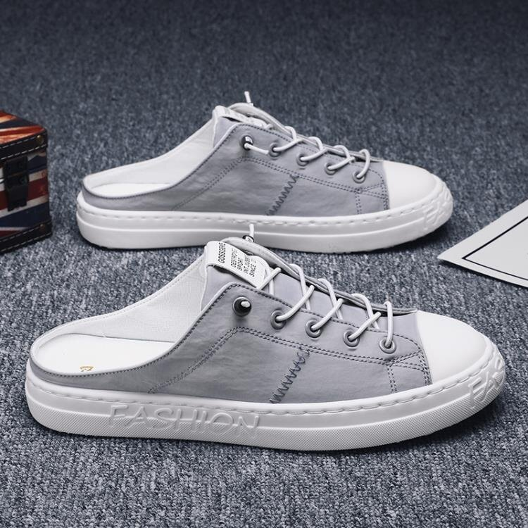 透氣帆布男鞋百搭一腳蹬懶人半拖無后跟2021新款布鞋潮鞋夏季 茱莉亞
