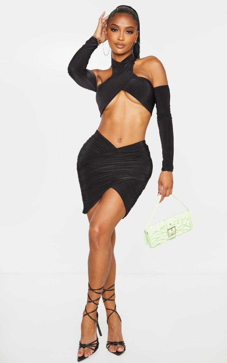Shape Black Slinky Wrap Detail Bodycon Skirt