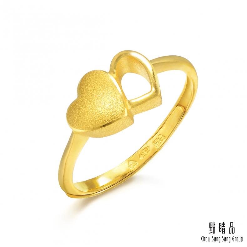 【點睛品】足金9999 心連心 黃金戒指_計價黃金