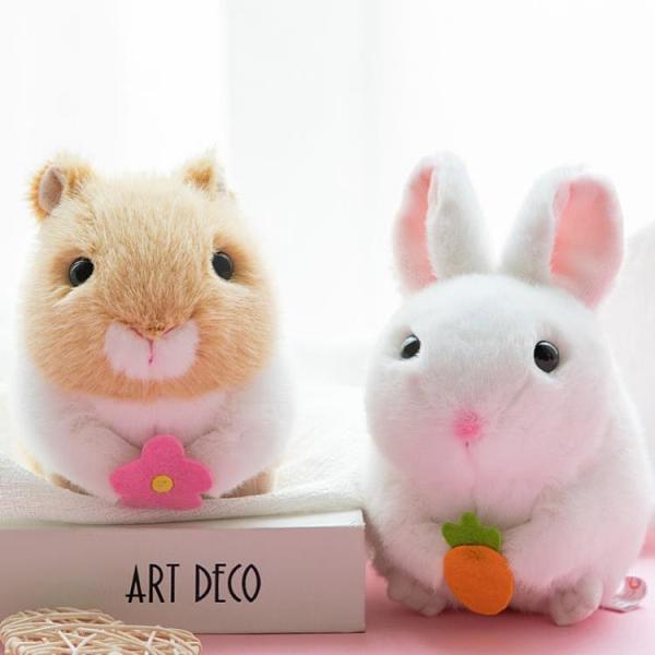 互動玩具 老鼠搖尾巴的可愛倉鼠仿真毛絨玩具公仔兔子小豬拉線發條小玩偶 印巷家居