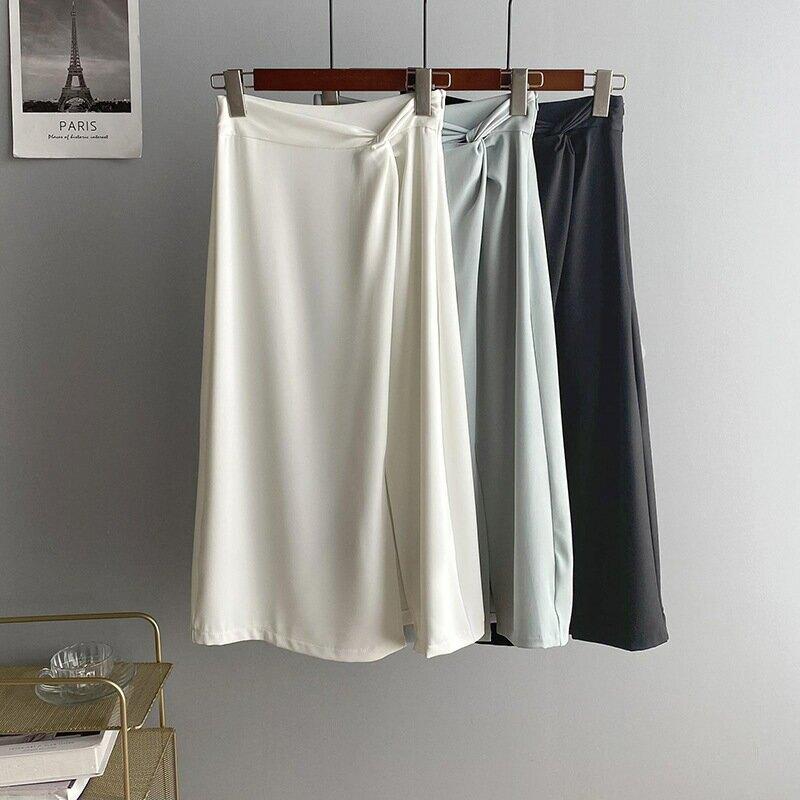 2021夏純色氣質半身裙女韓開叉薄黑色中款高腰顯瘦A字裙