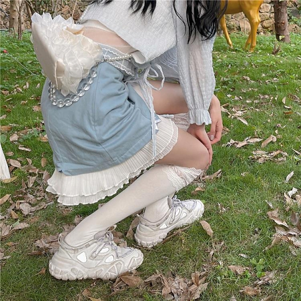 THETURE【云朵有點甜】藍色半身裙2021春款女夏高腰a字短裙小個子 錢夫人 夏季特惠