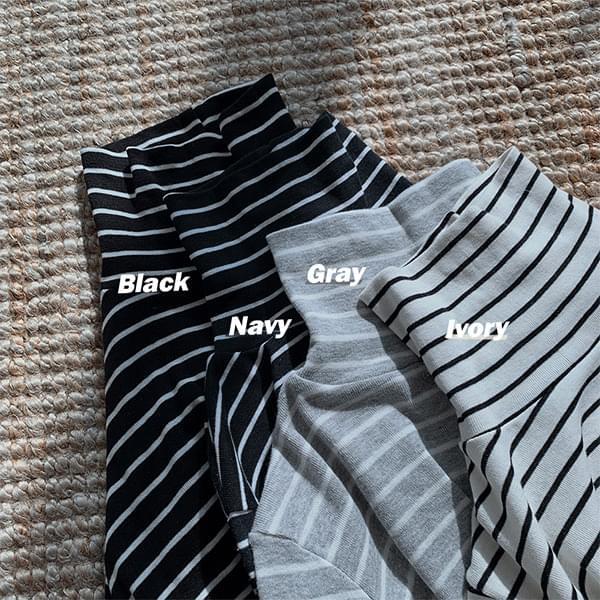 韓國空運 - Layered, striped Turtleneck T-shirt 長袖上衣