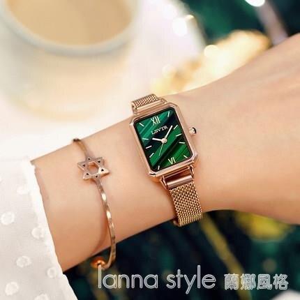 手錶女簡約氣質ins風輕奢女錶復古孔雀石紋理小方盤小綠錶 全館新品85折