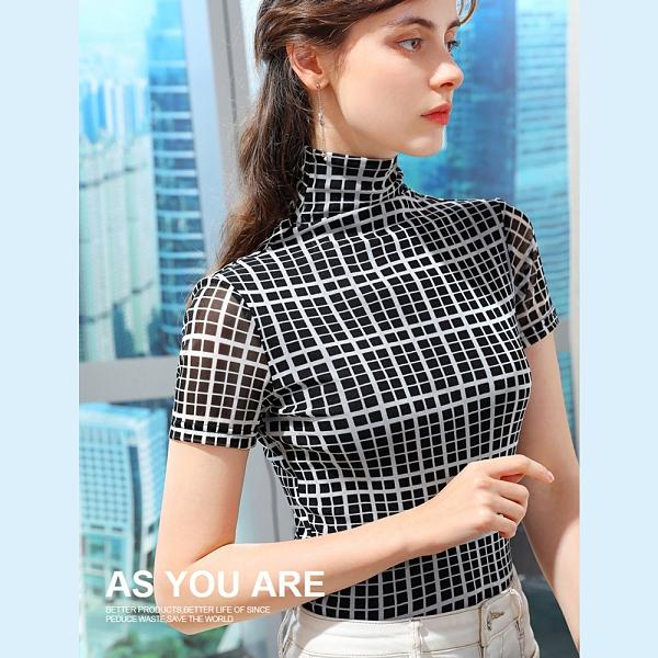 短袖T恤格子高領網紗內搭衫薄版緊身上衣(S-3XL可選)/設計家 AL310181