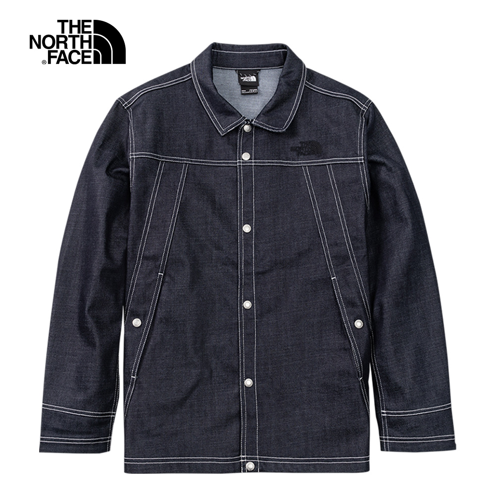 The North Face北面UE男款深藍色簡約休閒襯衫領牛仔外套|5AVHDG7