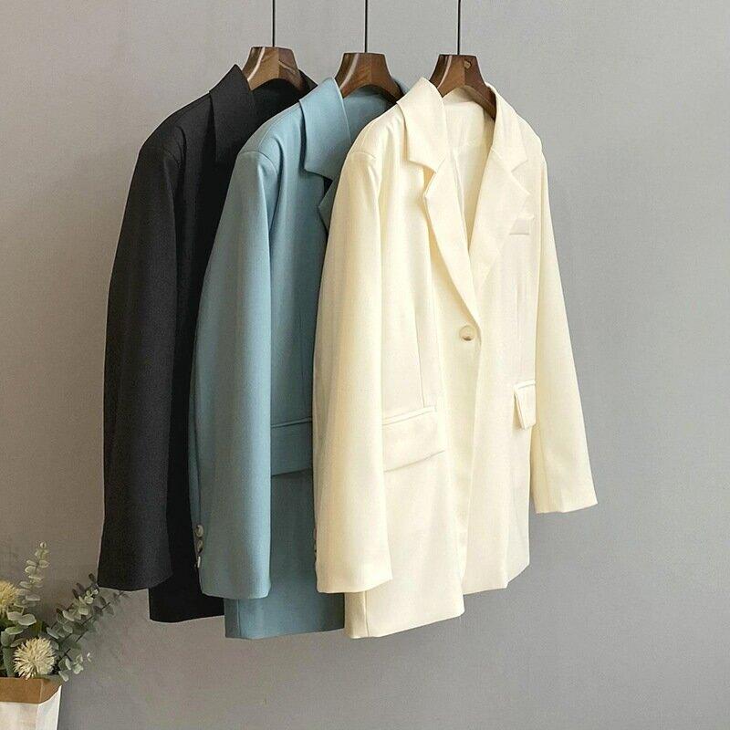 2021春純色西裝外套女一粒扣寬鬆港風韓版休閒西服上衣
